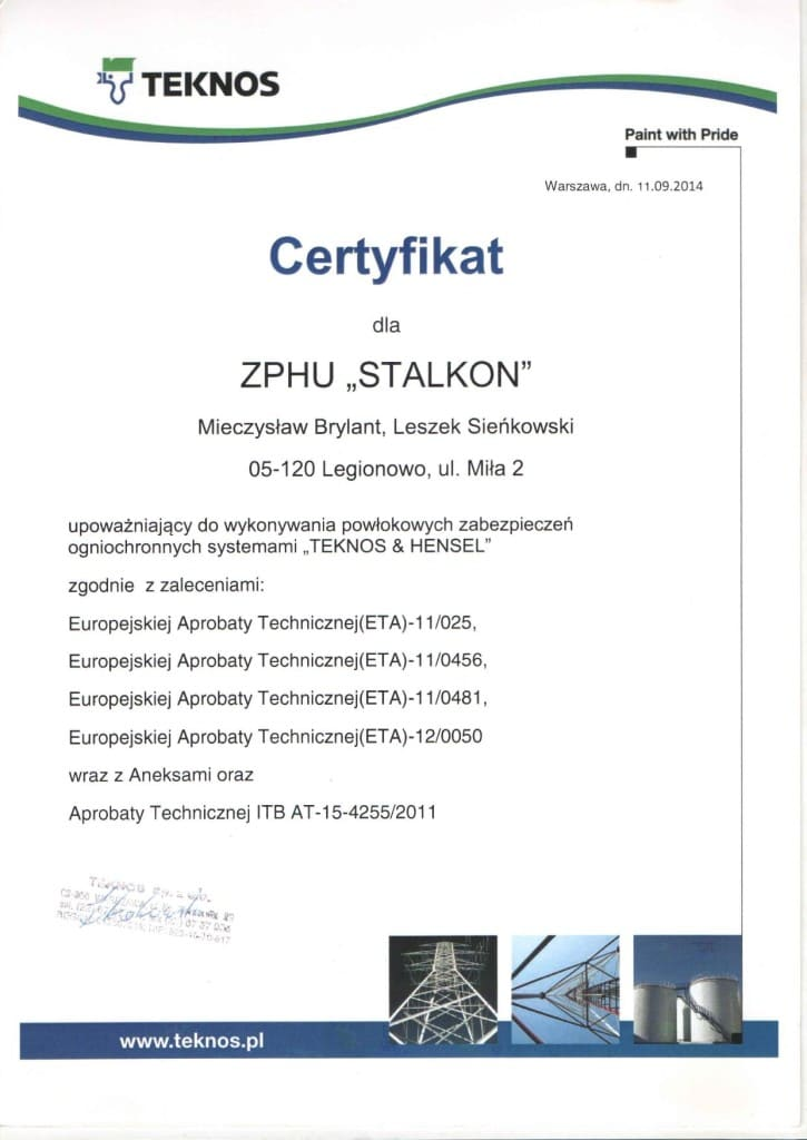 Certyfikat TEKNOS